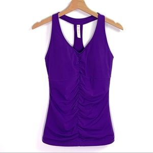 Lucy Ruched Purple Mesh T Back Yoga Gym Tank Top